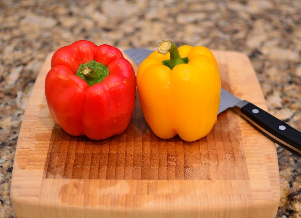 1 red bell pepper and 1 yellow bell pepper