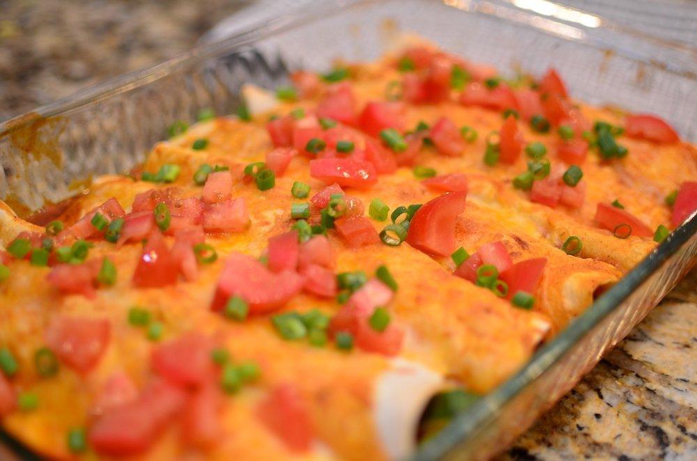 Turkey and vegetable enchiladas