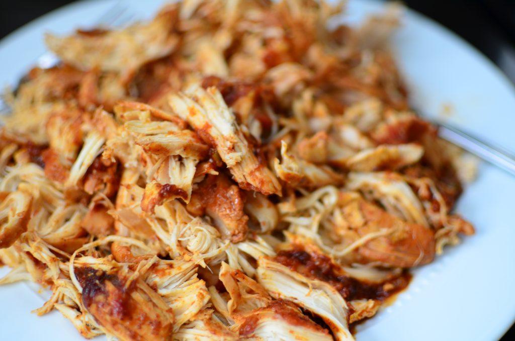 Shredded taco seasoned chicken breasts