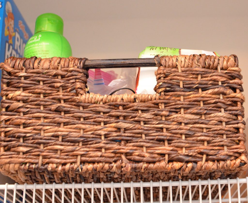 Large basket in pantry to store dog's treats and medicines