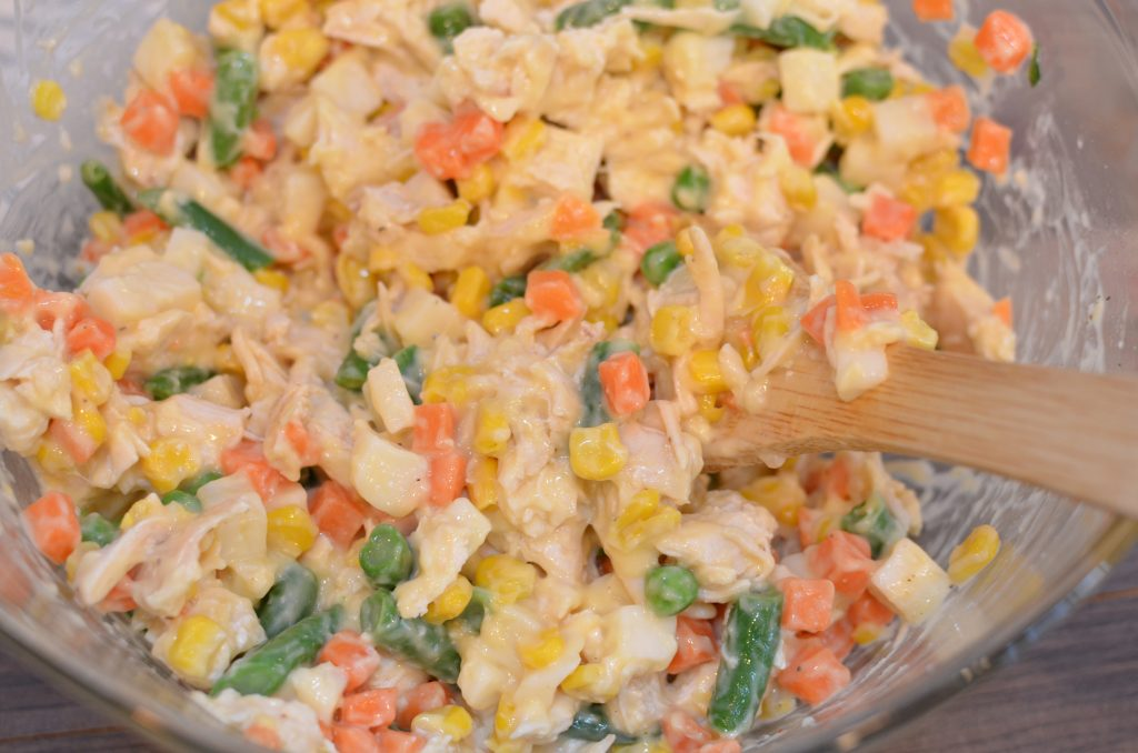 Mixed vegetables, shredded chicken and cream of chicken soup