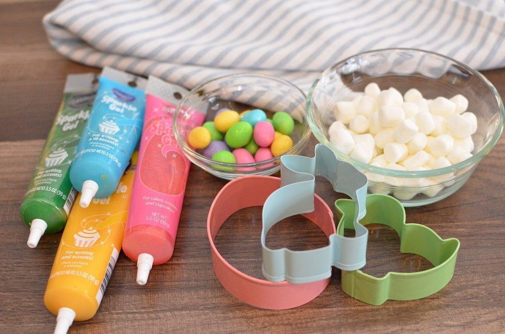 Easter cookie cutters, marshamallows, icing, and m&ms