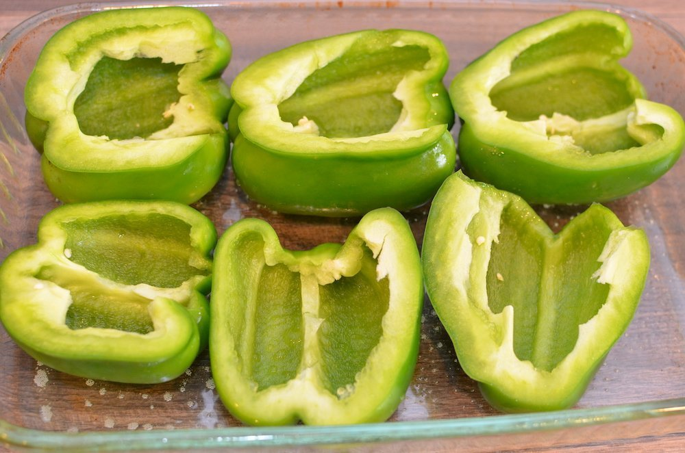 3 green peppers, halved, and place in a baking dish