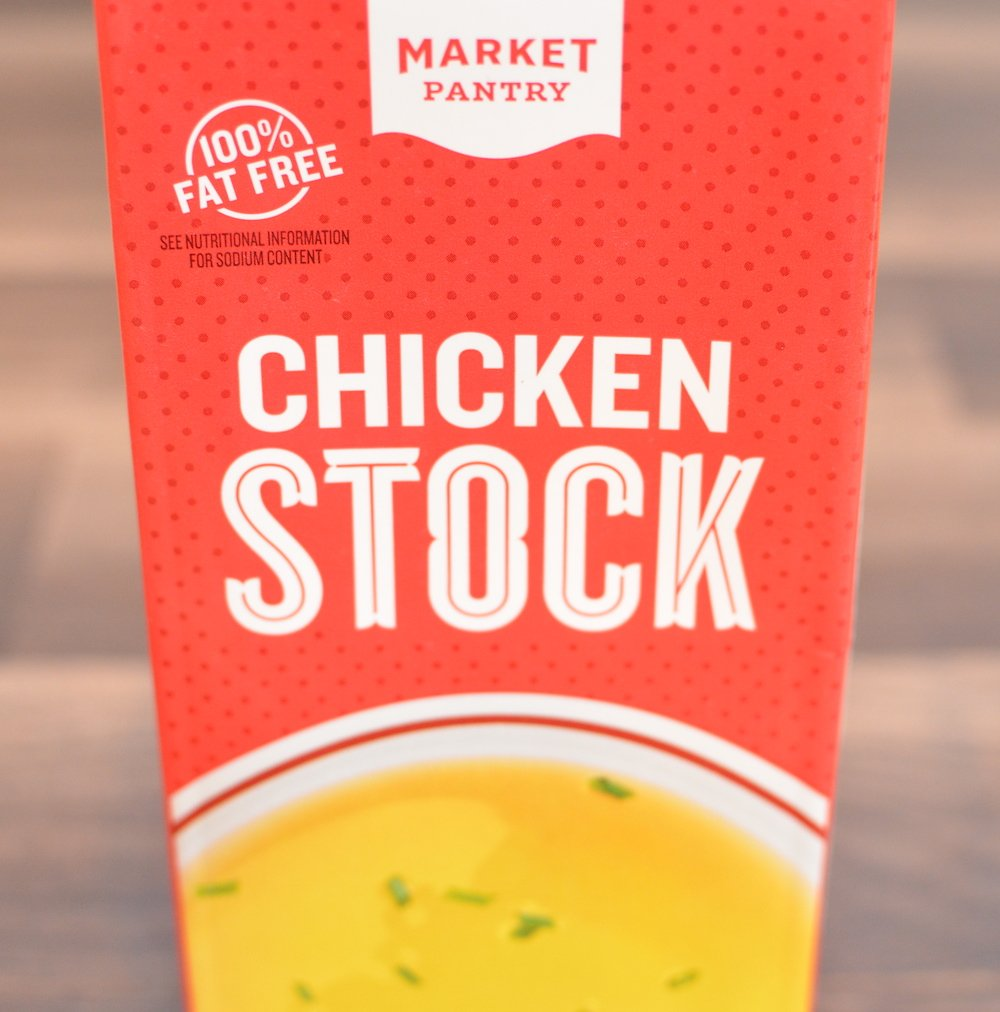 Container of market pantry chicken stock
