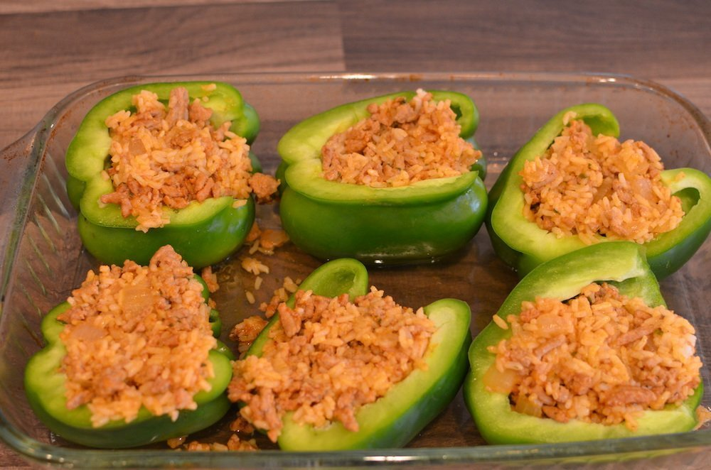 Green bell peppers stuffed with ground turkey and rice