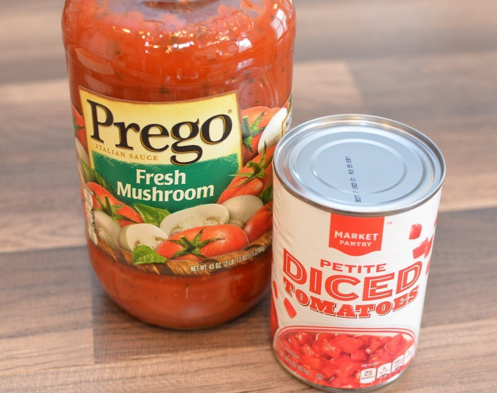 Prego mushroom sauce and can of diced tomatoes