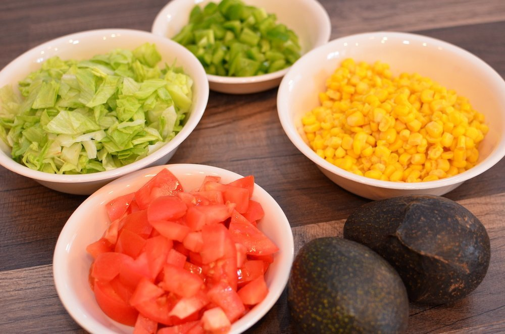 Diced Tomatoes, Corn, Avocado, Lettuce and Green Peppers