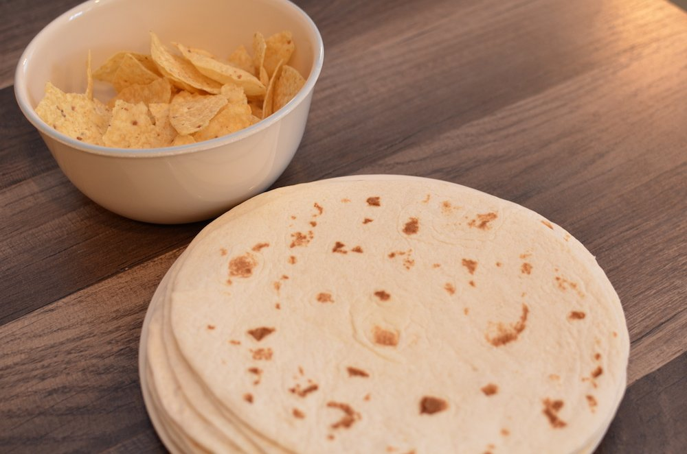 Flour Tortillas and Chips for Build Your Own Taco Bar