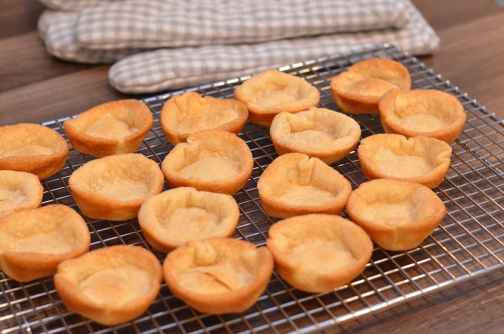Pie crusts baked in muffin tins