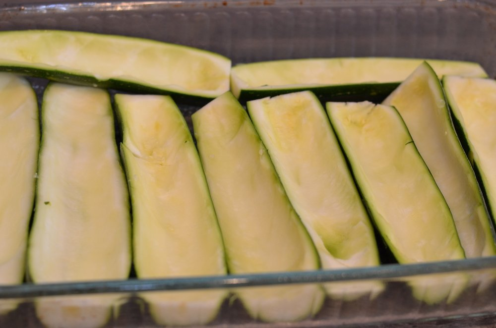 Hollowed zucchinis for zucchini boats