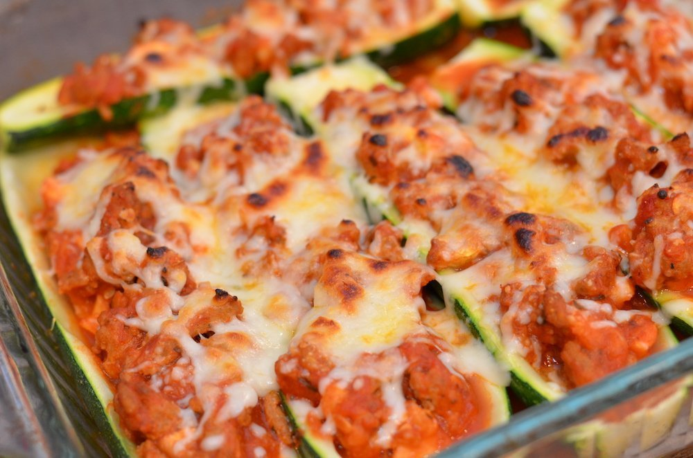 Zucchini boats with ground turkey